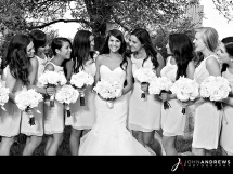 Bride and Bridal Party in B & W